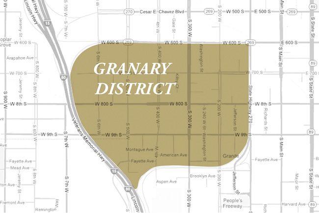 Salt Lake City Granary District Neighborhood Map   Places to