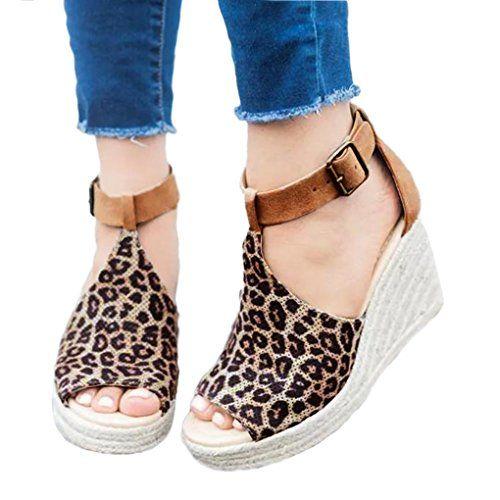info for 6458b ac71f Minetom Femme Mode Sandale Peep Toe Talon Compensé Casual Été Chaussure  Boucle Talons Hauts Respirant Romaines