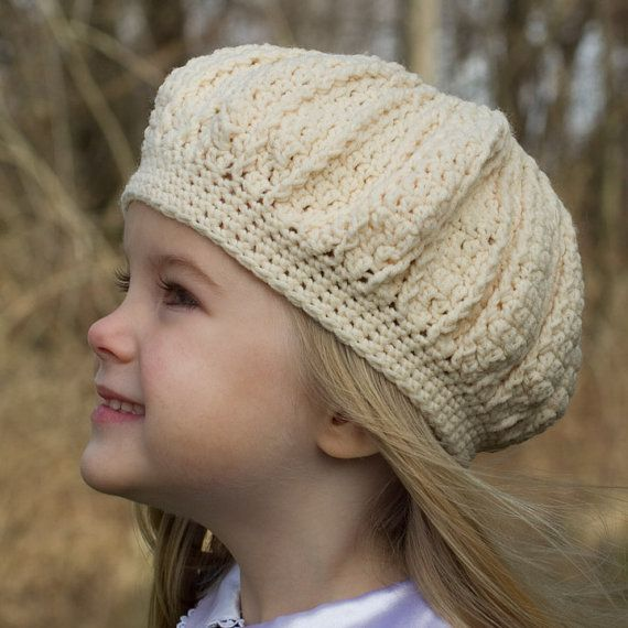 White Girl's Hat  Made to fit as a Beret or like a by TamaraSlack, $16.00