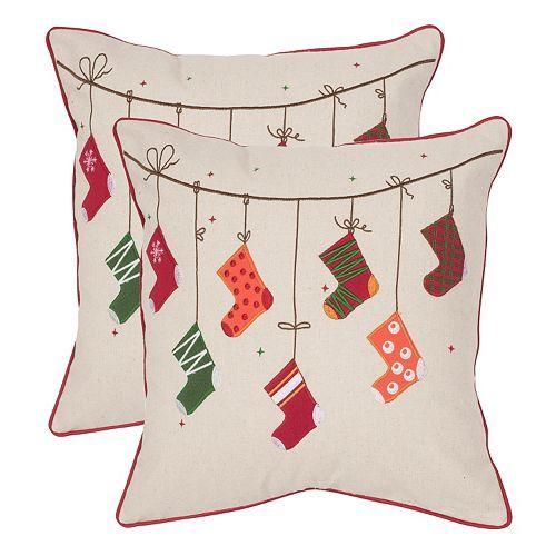 safavieh holiday stockings 2 piece throw pillow set kohls holiday decor