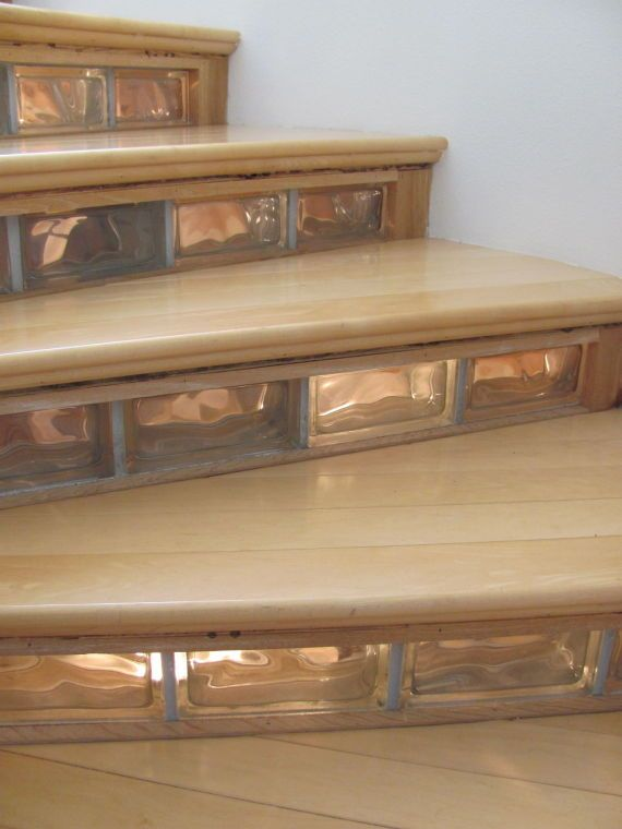 Glass Blocks In Stairs Decorative Glass Blocks Stairway Design