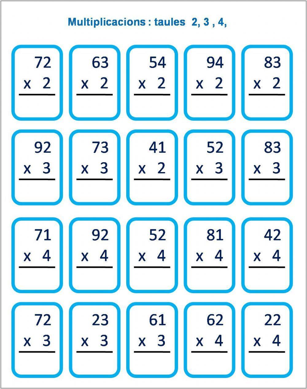 Multiplicacions Taules 2 3 Y 4 Ficha Interactiva Hojas De Trabajo De Matemáticas Matematicas Tercero De Primaria Prácticas De Matemáticas