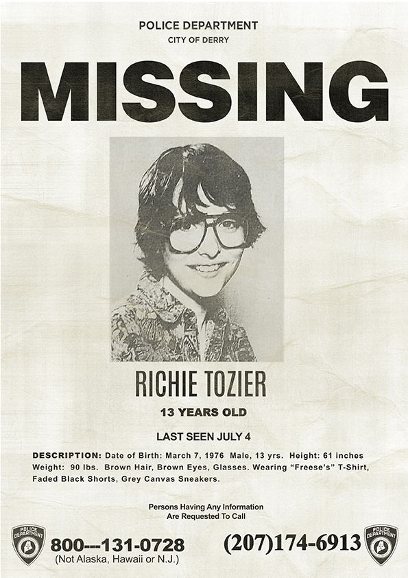 richie tozier missing poster stephen king s it 2017 halloween