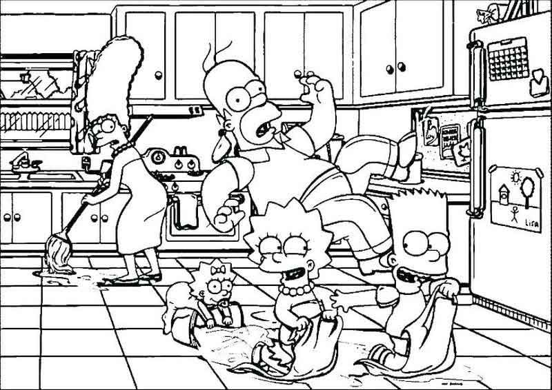 Funny Coloring Pages Simpsons in 2020 Coloring books