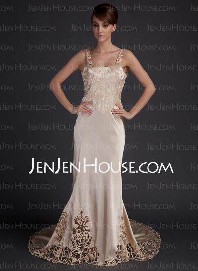 Wedding Dresses - $162.99 - Sheath/Column Strapless Chapel Train Charmeuse Wedding Dresses With Lace (002015727) http://jenjenhouse.com/Sheath-Column-Strapless-Chapel-Train-Charmeuse-Wedding-Dresses-With-Lace-002015727-g15727