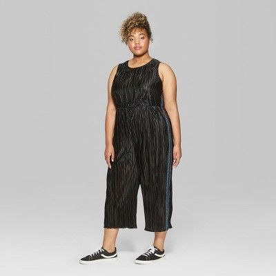 62f19694b1f Women s Plus Size Sleeveless Bodre Jumpsuit with Lurex Tape - Wild Fable  Black 3X