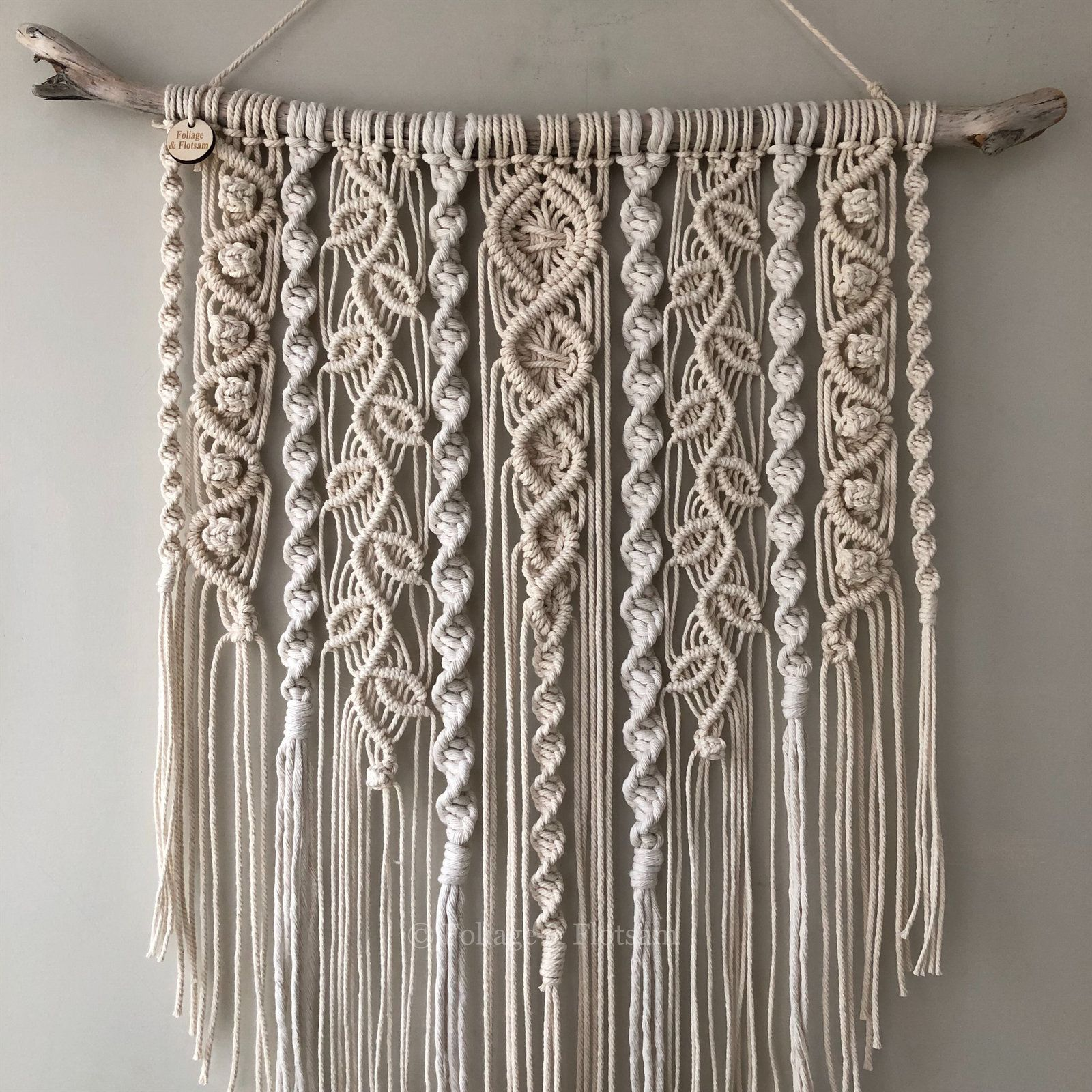 Photo of Large macrame wall hanging, nursery Scandi style wall decor, boho interiors, woven leaves, boho home, falling leaf design