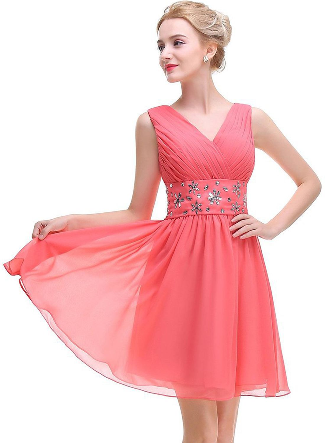 Women\'s V Neck Pleated Sleeveless Midi Prom Dress with Rhinestone ...