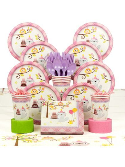 Happy Woodland Girl Party Deluxe Tableware Kit Serves 8