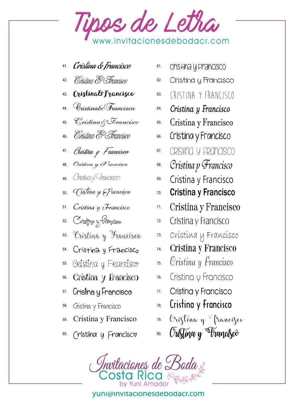 tipos de letra para invitaciones de boda los mejores tipos de letra