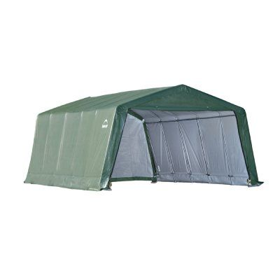 Peak Style Hay Storage Shelter, Green Cover 12x20x8 71534 ...