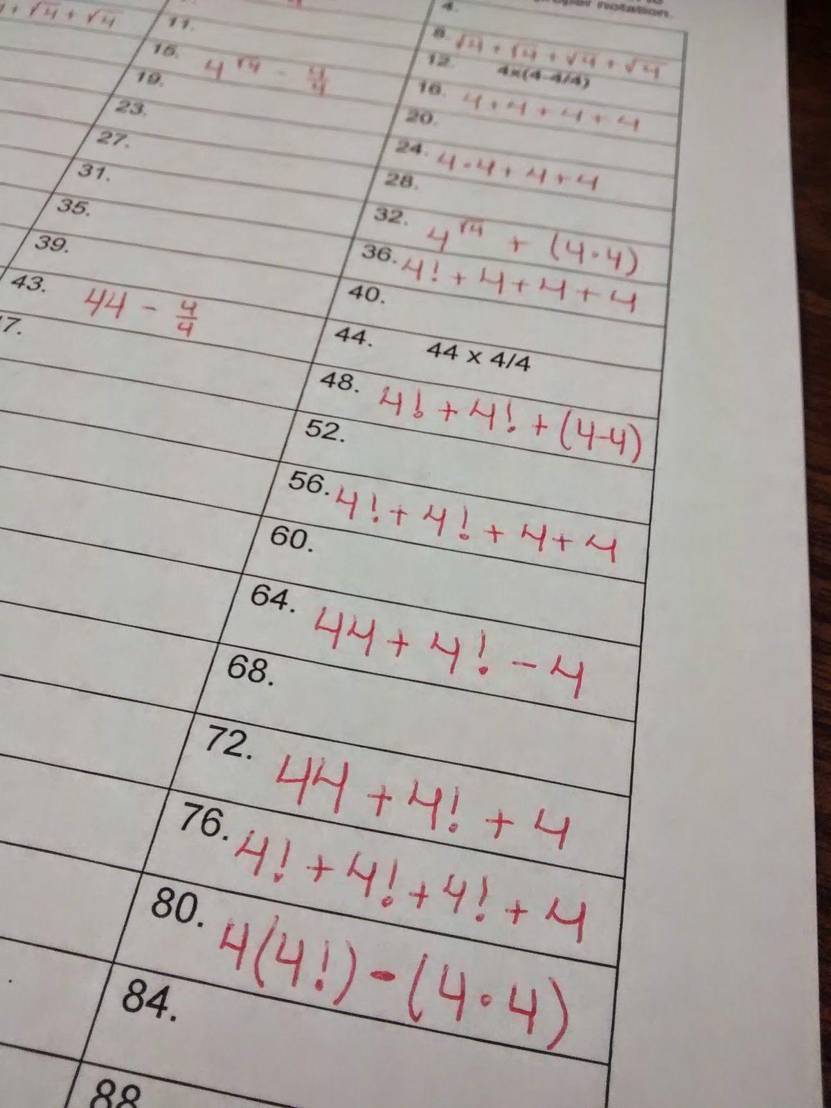 Four Fours Tons Of Fun Teaching Blogs High School Math Teacher Love Math [ 1600 x 1200 Pixel ]