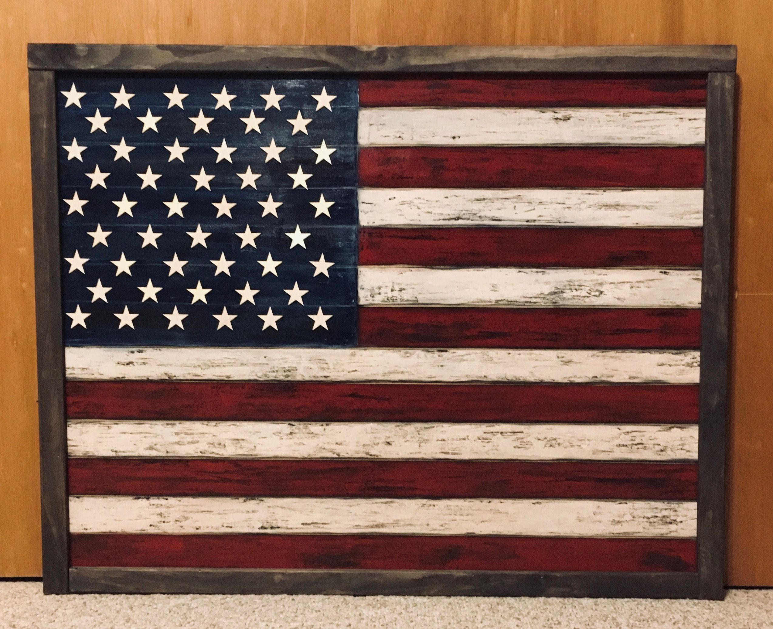 I Painted This American Flag Acrylics On Mdf With Wooden Stars For