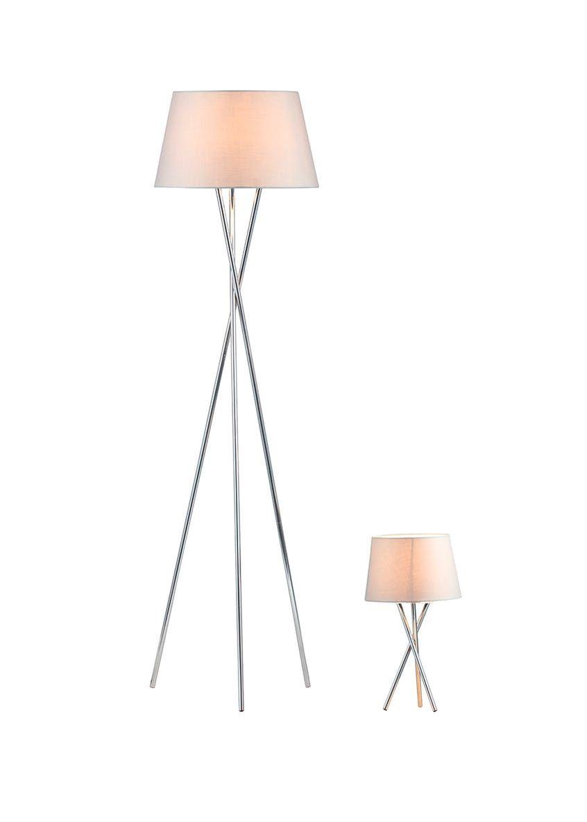 Monroe Tripod Floor Table Lamp Set Grey Lamp Sets Table