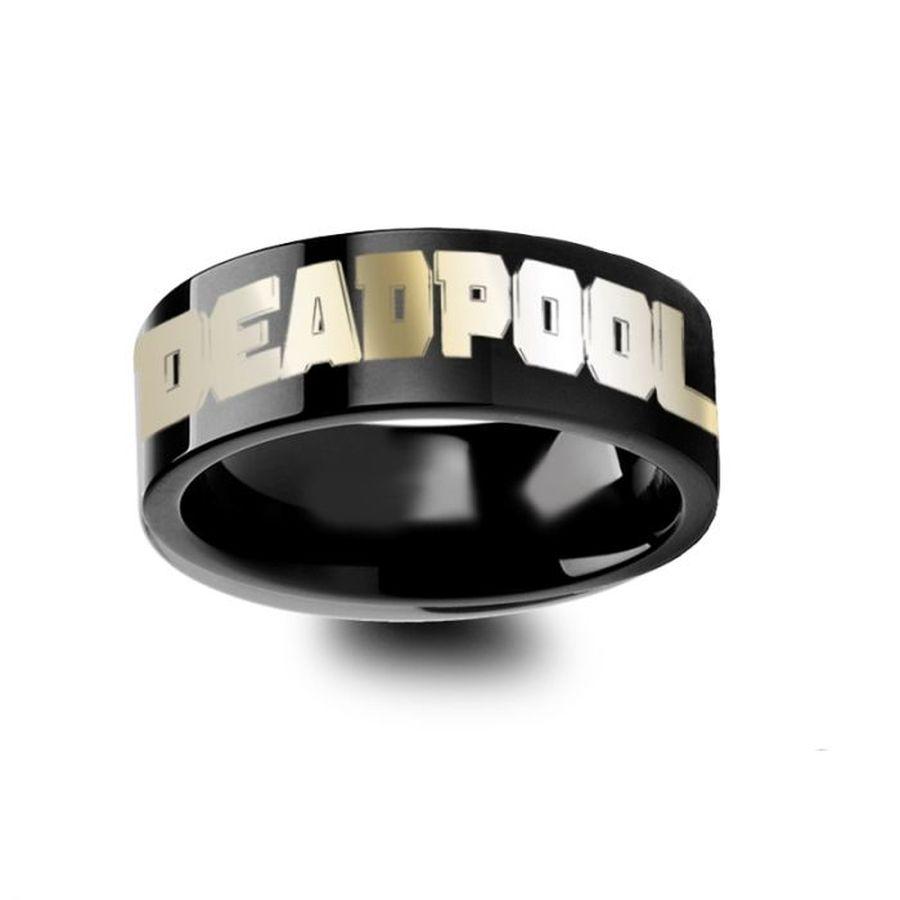 Deadpool Engraved Black Tungsten Wedding Band Black Tungsten Wedding Band Tungsten Wedding Bands Black Tungsten