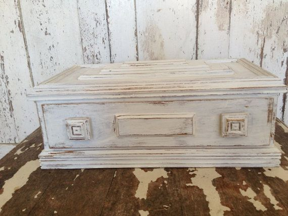 SHABBY CHIC LARGE Storage Box White Distress Cottage Chic Organizer
