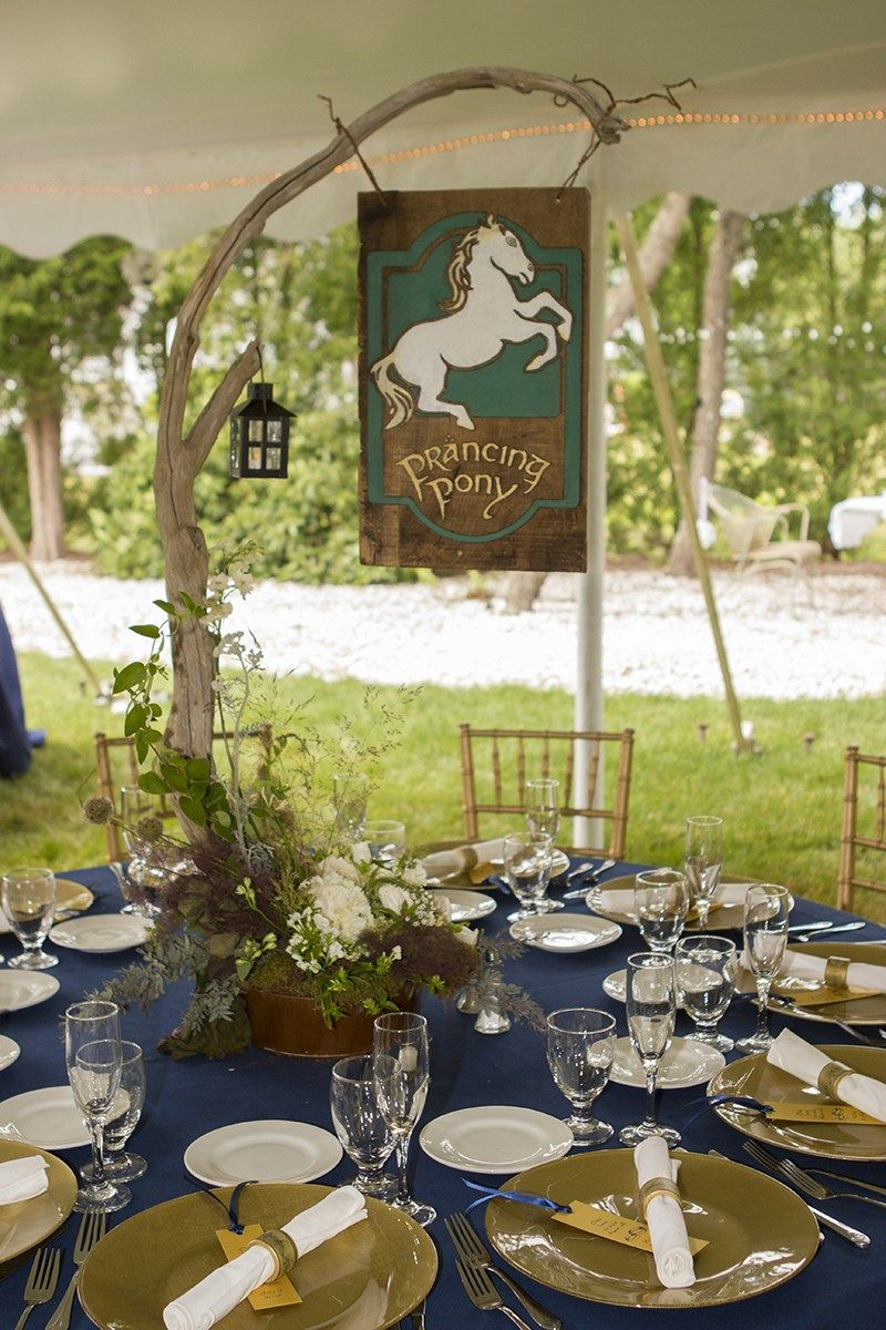 Find the one napkin ring at a Middle Earth garden wedding