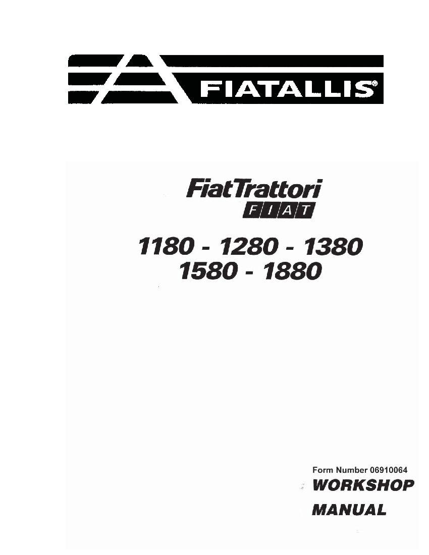 Fiat 1180 1280 1380 1580 1880 Tractor Workshop Repair Service Manual Pdf Download Repair Manuals Manual Tractors