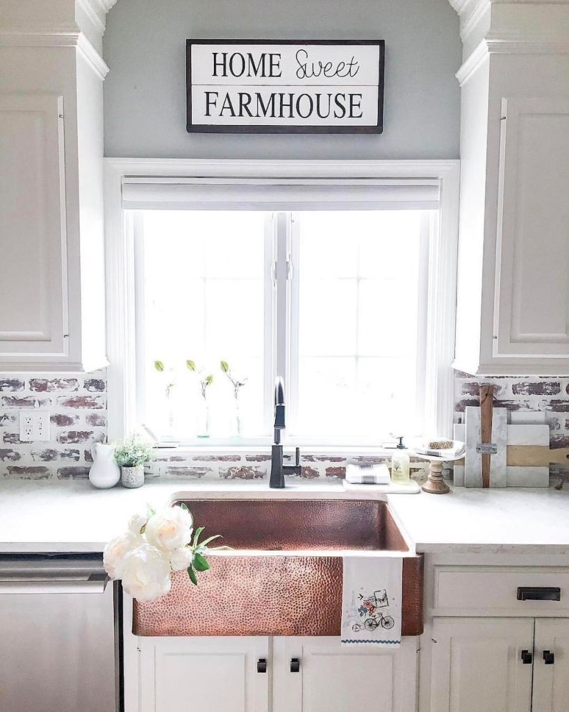 60 fancy farmhouse kitchen backsplash decor ideas (16