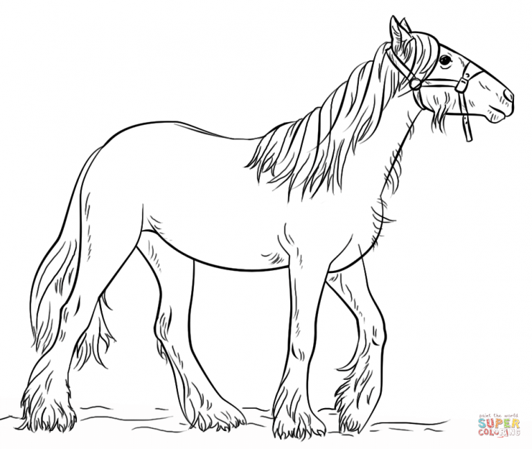 Cute Farm Horse Free Printable Coloring Page for Kids | 648x768