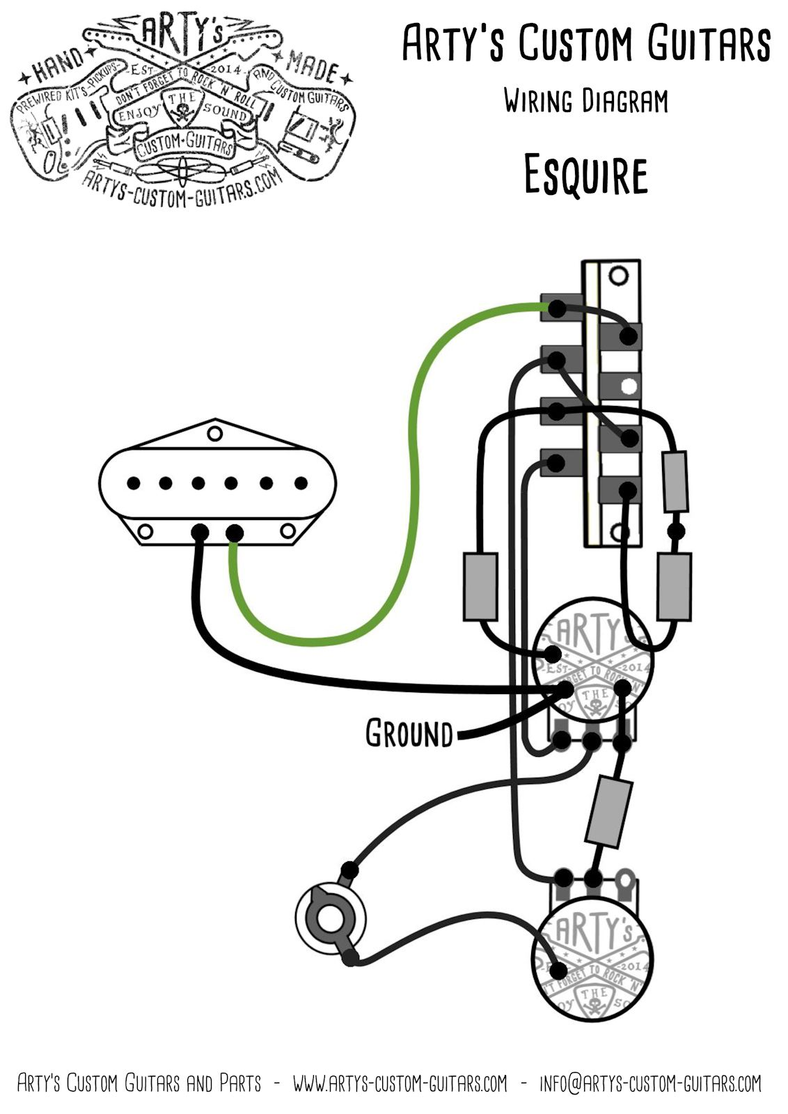 Esquire Wiring Diagram Prewired Kit Artys Custom Guitars Fender 1959 Precision Bass