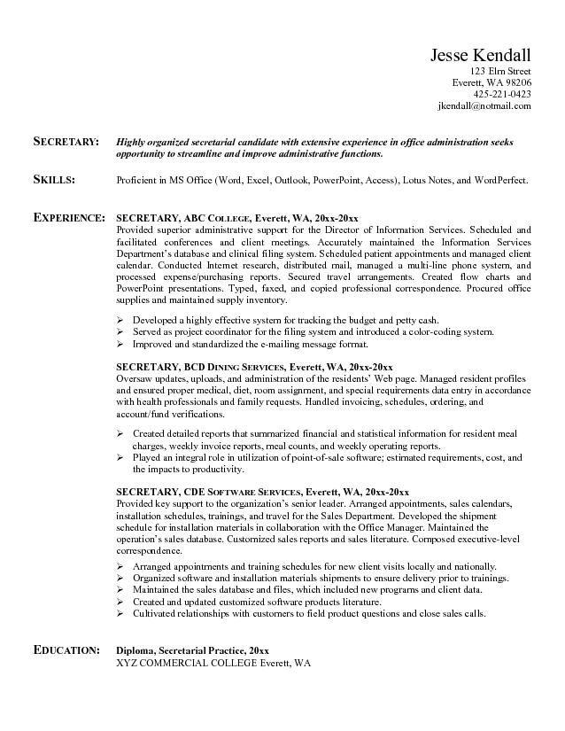 Example Secretary Resume Free Sample Job Resume Samples Receptionist Jobs Sample Resume