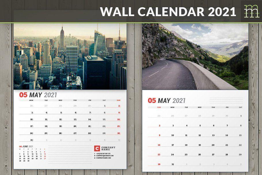 Wall Calendar 2021 Wc037 21 Wall Calendar Calendar Design Template Calendar