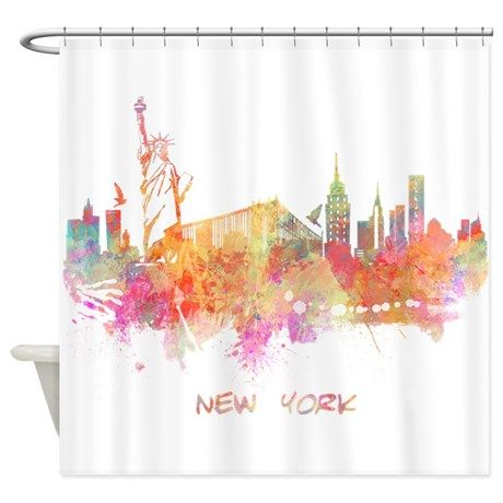 New York City Skyline Watercolor Shower Curtain On Cafepress Com