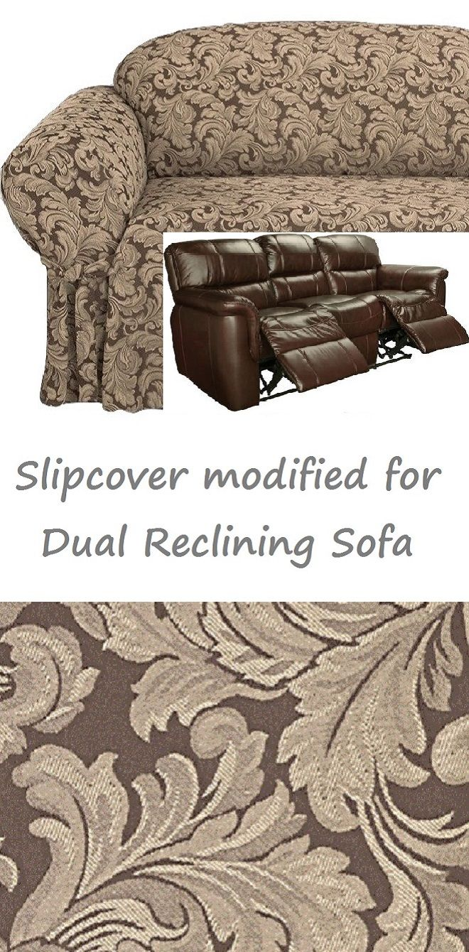 Dual Reclining Sofa Slipcover Damask Chocolate Brown For 3 Seater Recliner  Couch SureFit Slip Cover Specifically Modified To Allow The Seats Of Your  Couch ...