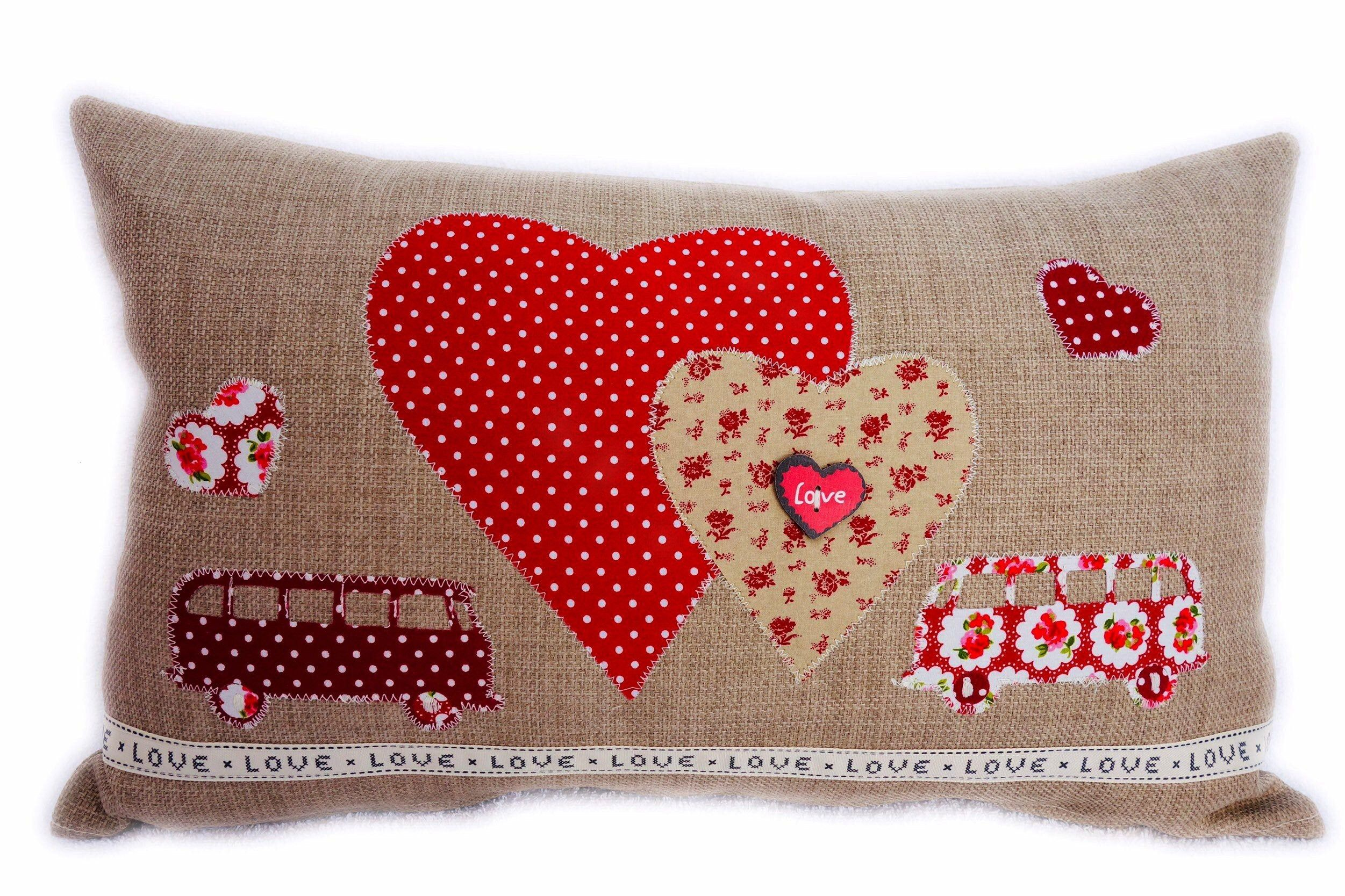 Appliqué Decorative Feature Cushion, Red Campers and Hearts design  Excited to share this item f