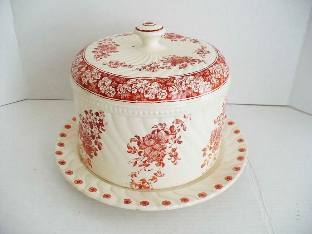 Antique wedgwood coral transferware covered cheese keep