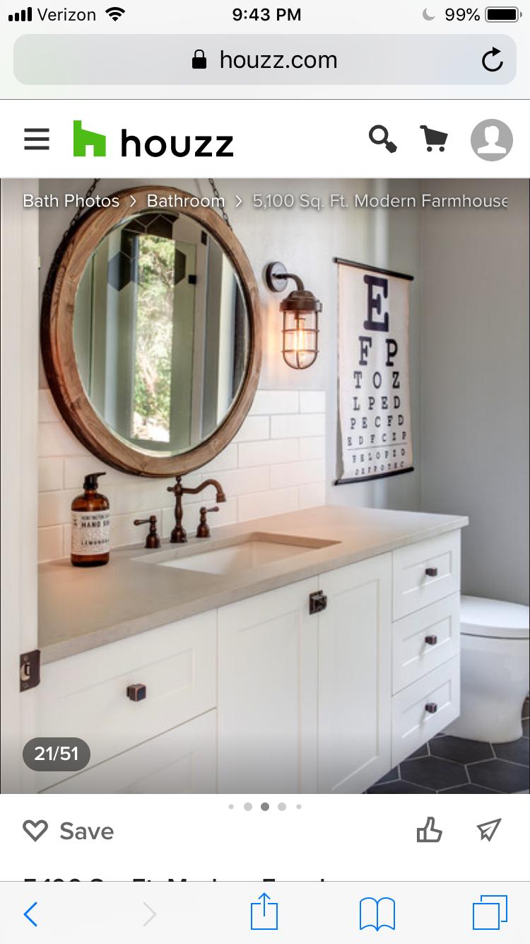 Pin By Debbie Thompson On Cordillera Non Master Bathrooms Round Mirror Bathroom Bathroom Mirror Bathroom [ png ]