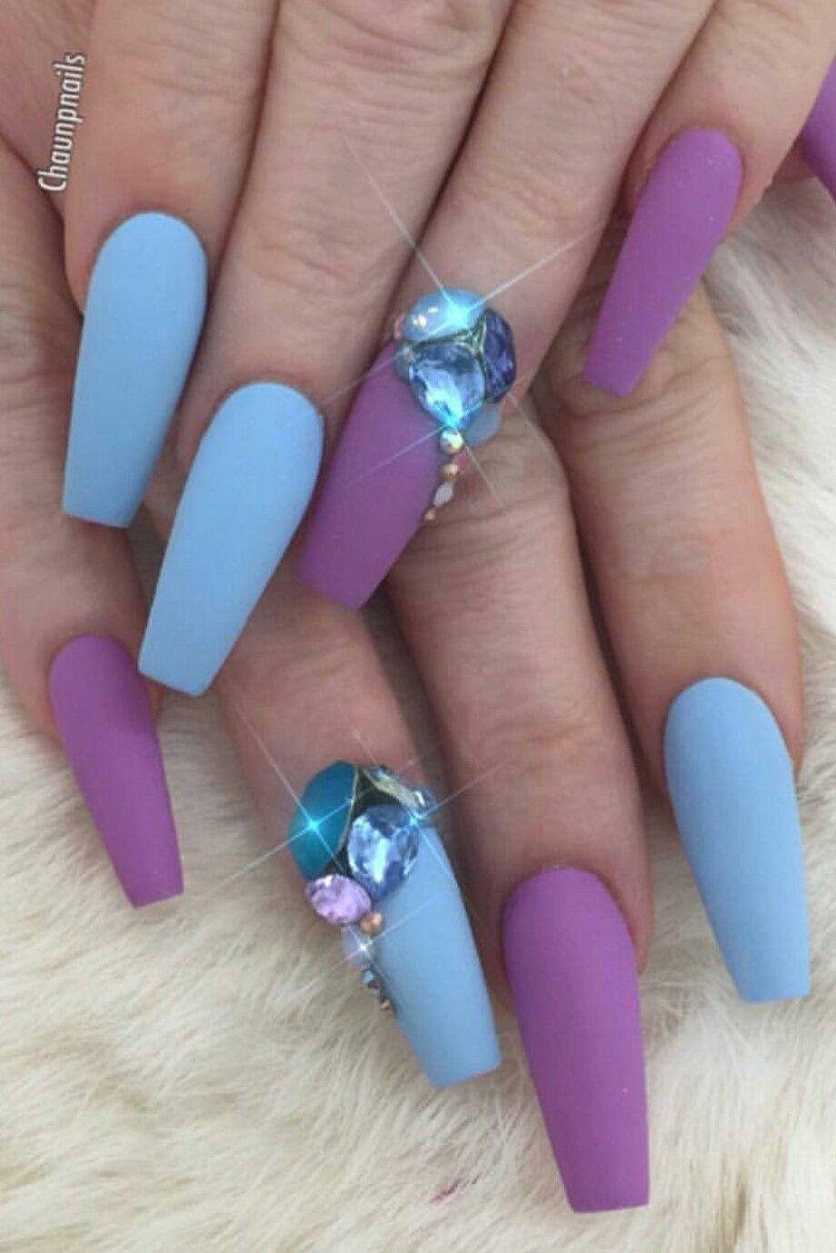 Blue purple matte nails