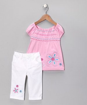 Another great find on #zulily! Pink Flower Tunic & Pants - Toddler by Young Hearts #zulilyfinds