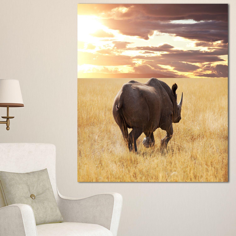 Designart \'Giant Rhino under Bright Sky\' African Wall Art Print ...