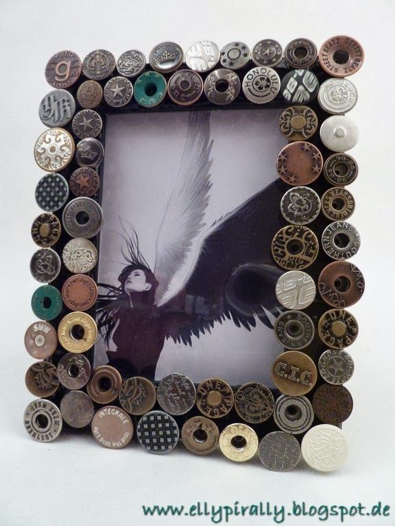 Mixed Media and more: Jeans Button Frame - Industrial Chic