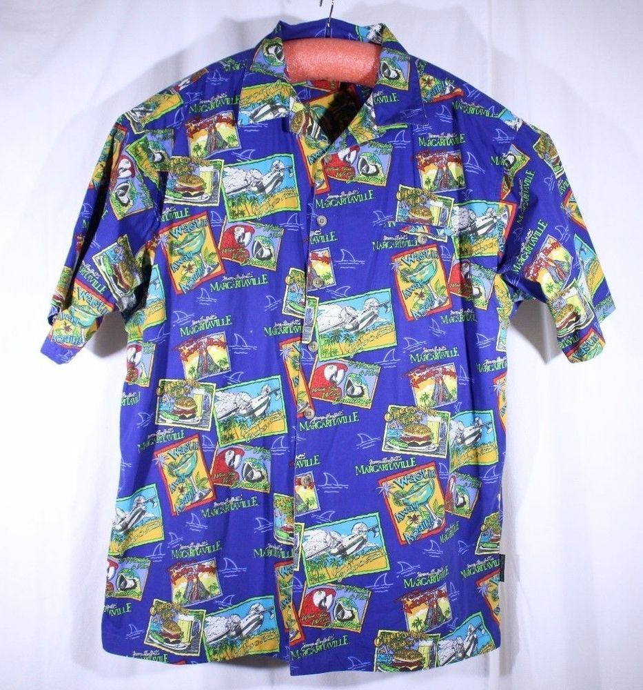 Margaritaville Jimmy Buffett Size XXL Hawaiian Camp Loud Shirt Song Titles  #JimmyBuffettsMargaritaville #Hawaiian