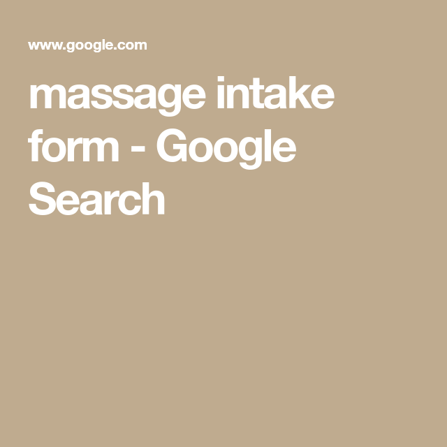 Massage Intake Form  Google Search  Massage