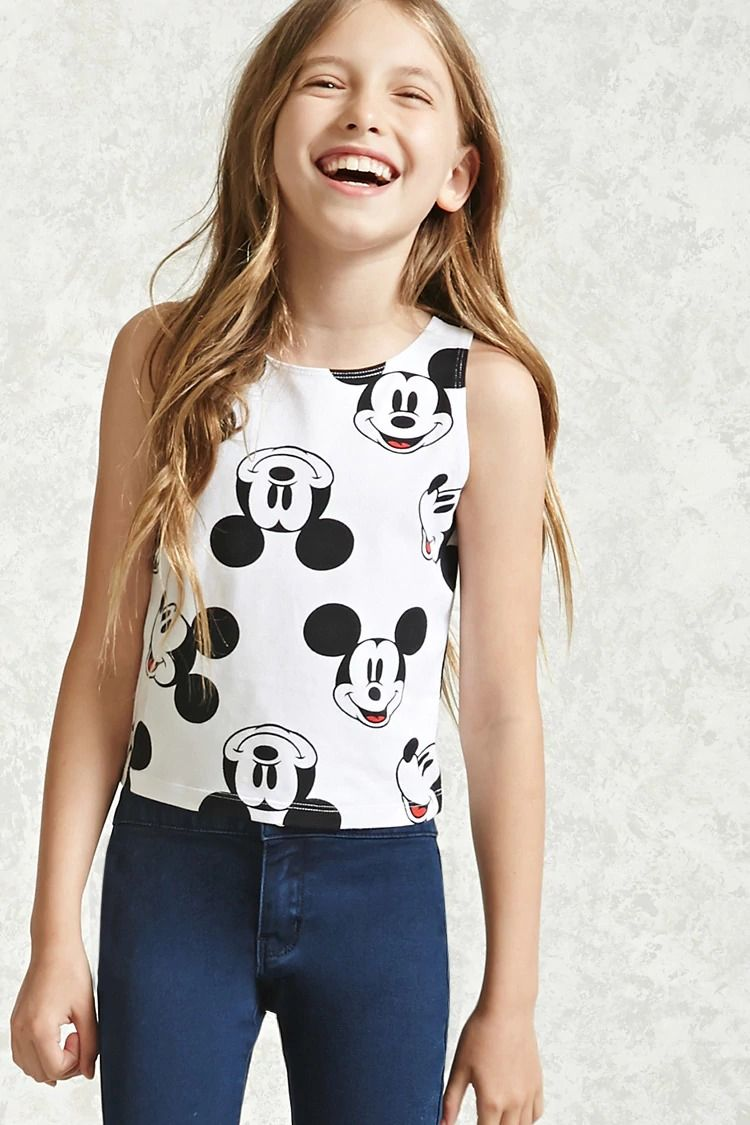 a521b5e5 Forever 21 Girls - A knit tank top featuring an allover mickey mouse print,  a