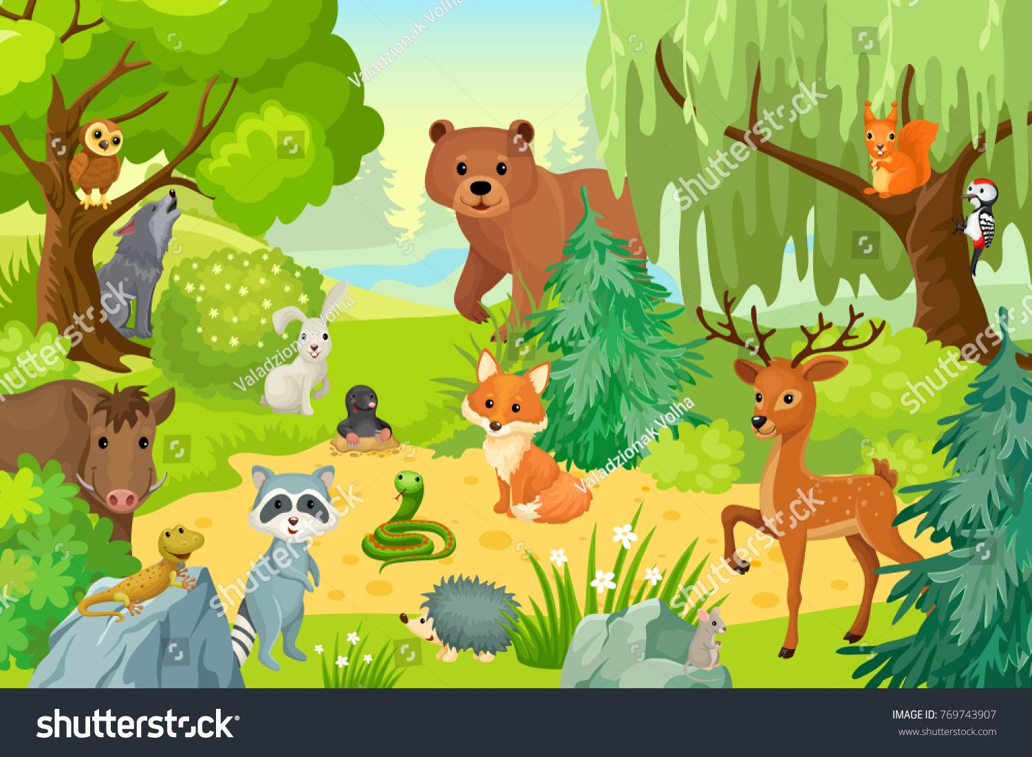 Group of wild animals on the fringe of the forest. Vector