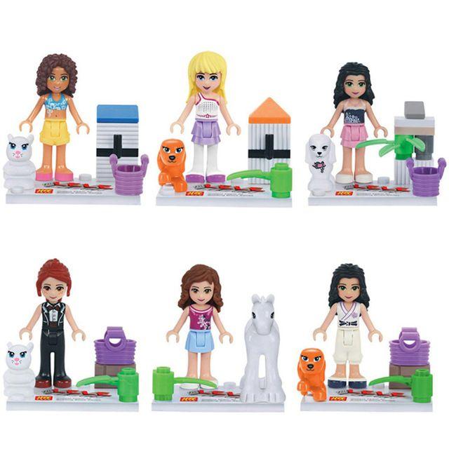 Friends Minifigures 6pcslot Stephanie Olivia Emma Mia Andrea Horse