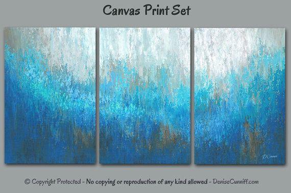 Aqua blue and brown wall art, Large abstract 3 panel ...