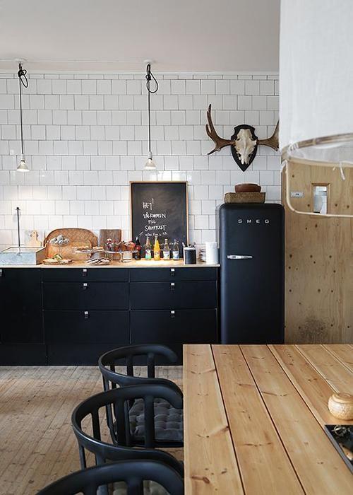 20 idées de cuisine noir et blanc Kitchens, Kitchen styling and
