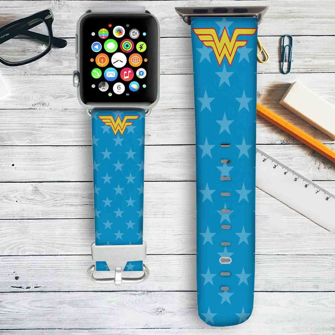 Wonder Woman Pattern Custom Apple Watch Band Leather Strap