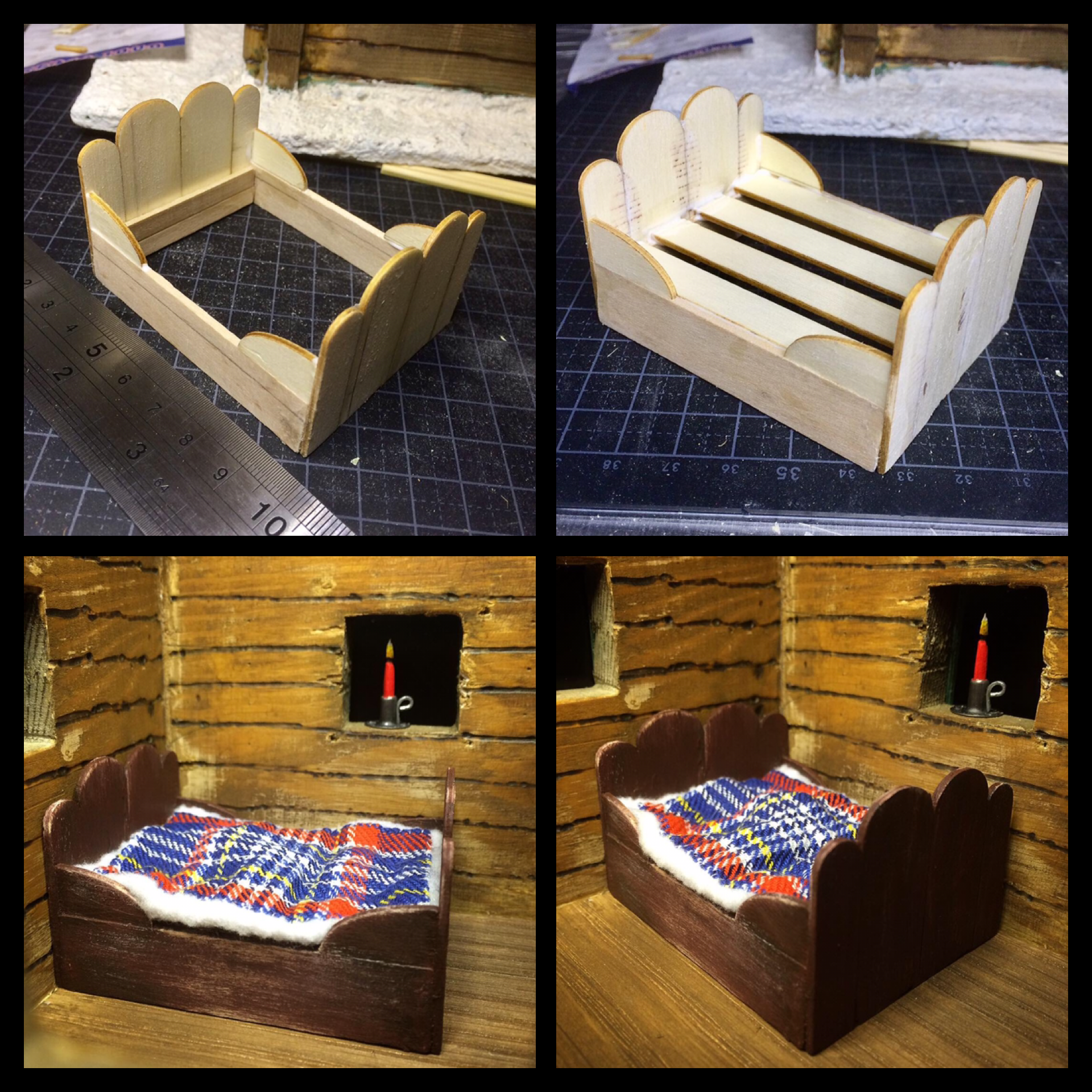 miniature 1:24 scale dollhouse bed made from popsicles