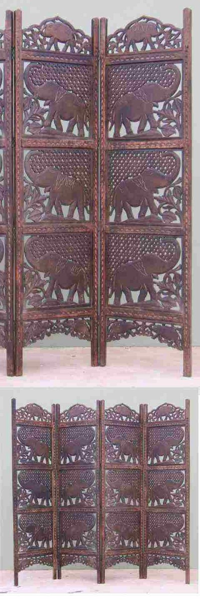 Benzara Sh1588 Carved Wooden Room Divider Screen Mdf Elephant Home