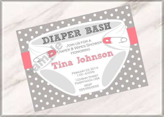 Diaper Party Invitation Wording  Diaper Bash Party Baby Shower Or
