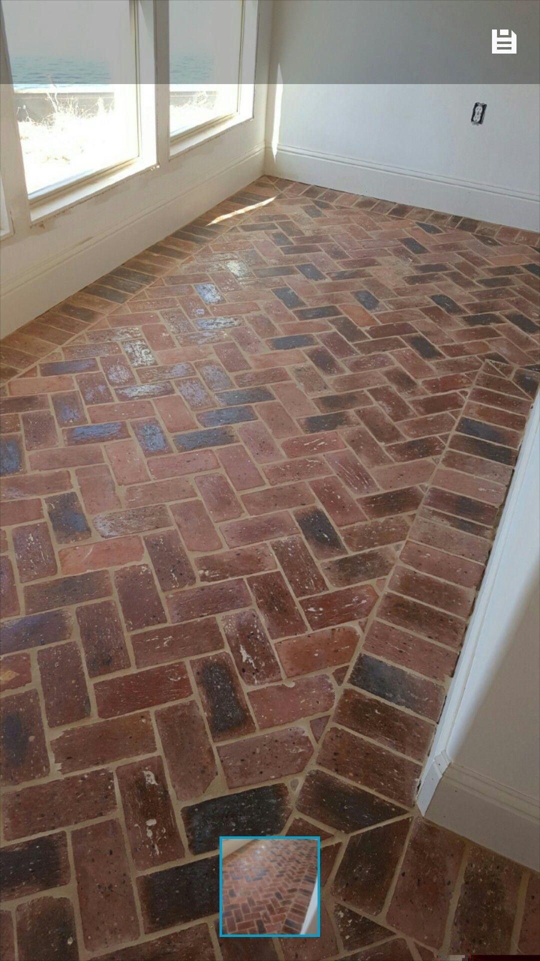 Herringbone Brick Floor Sunroom Home