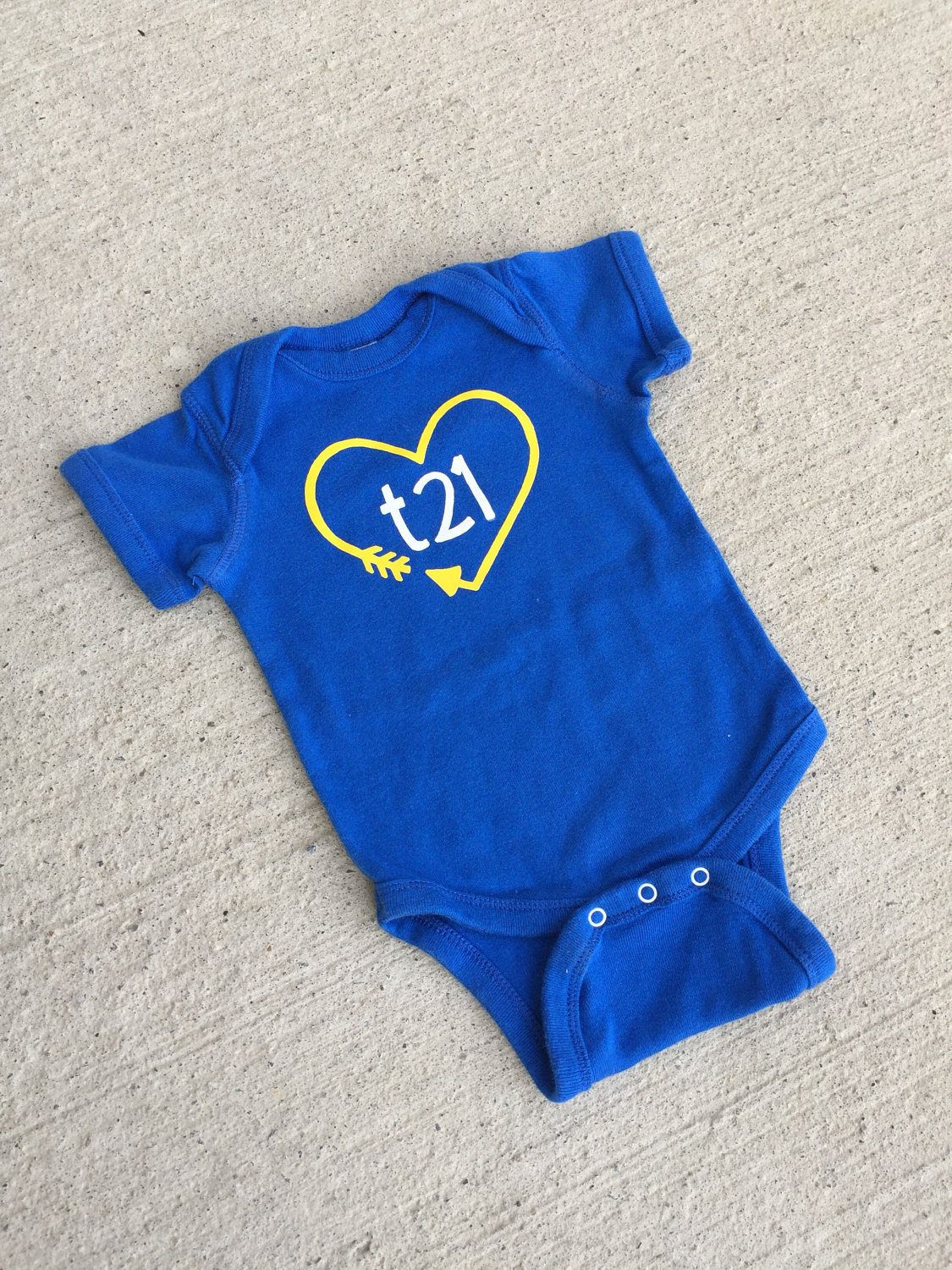 9d401e0d3 Down Syndrome Awareness Onesies ~ Baby Girls or Baby Boys, Royal Blue Short-Sleeved  Onesie with Yellow and White
