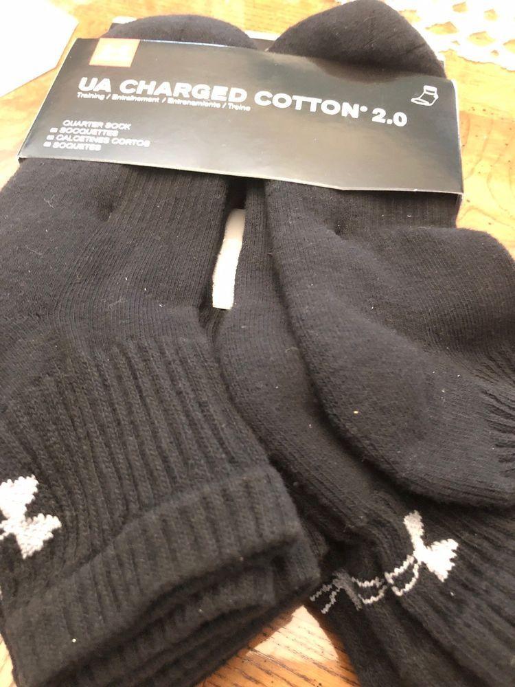 ecf15773fce7 under armour UA Charged cotton 2.0 Mens quarter Sock Lg 6 pair ...